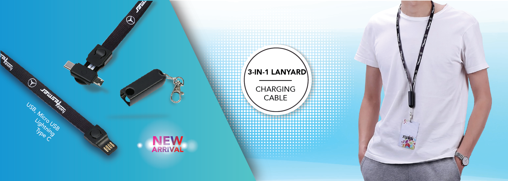 Lanyard with charging cable