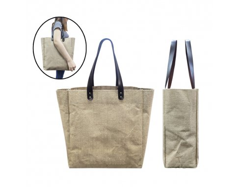 Jute Tote Bag with PU leather handle_PB444